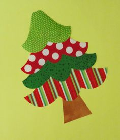 Free Christmas Applique Patterns | Fabric Applique TEMPLATE PATTERN ONLY Four Tier Christmas Tree....New