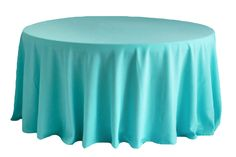 """Round Polyester 132"""" Tablecloth - Turquoise ● As Low as $13.99"""