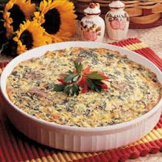 Awesome crust-less quiche. Great flavor... added a little garlic powder and ham too