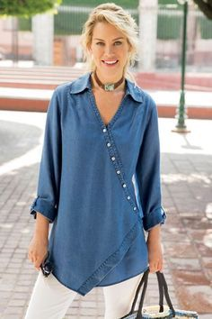 """Here's our exceptionally popular crossover-front tunic in drapey Tencel®️ - a vintage-washed go-to with ultra-softness and a bit of an edge. It features an asymmetrical point hem and fuss-free fit in five spring-y shades. Tencel®️ lyocell. Misses 31""""/34"""" long. Washed Tencel Tunic - Item #2AH51"""
