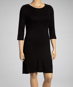 Look at this Poliana Plus Black Three-Quarter Sleeve Dress - Plus on today! Plus Dresses, Dresses For Work, Dresses With Sleeves, Dyt Type 4 Clothes, Tunic Leggings, Cotton Tee, Plus Size Outfits, Plus Size Fashion, Heather Grey