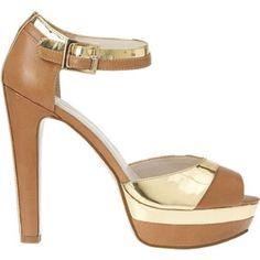 Nine West Leather Gold High Heel Platform Sandals