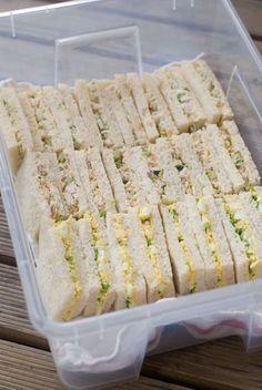 tea sandwiches eveyone would like :) pbj, tuna or chicken, salad ham and cheese