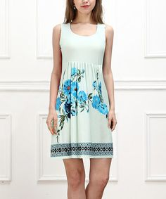 This Blue & White Floral Sleeveless Empire-Waist Tunic by Reborn Collection is perfect! #zulilyfinds