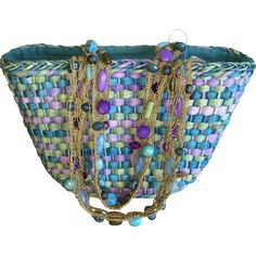 Vintage Cappelli straw handbag with beaded handle www.rubylane.com #vintage #vintagehandbag #strawhandbag #beachbag #cappelli #beaded #beachday #spring #summer #bemyvalentine
