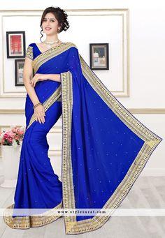 Blue Color Georgette Designer Party Wear Saree