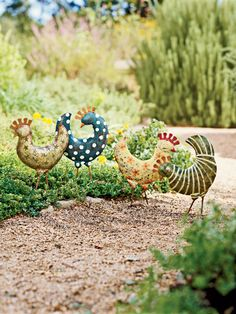 Even if you can't have chickens...you can have chickens! Funky Chickens, set of 4. Hand-painted steel and loads of fun!