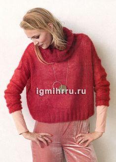 Красный мохеровый свитер с объемным драпирующимся воротником. Вязание спицами