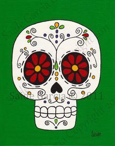 Day of the Dead Red Daisies Flower Eyes Skull Original PRINT 8x10 green sugar skull. $9.95, via Etsy.