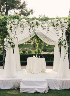 Photographer: Mibelle Photography, Event Design: Blush Botanicals; Breathtaking white outdoor wedding ceremony;