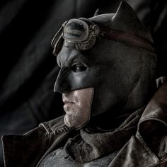 Batman was wearing what appears to be a soldier disguise.