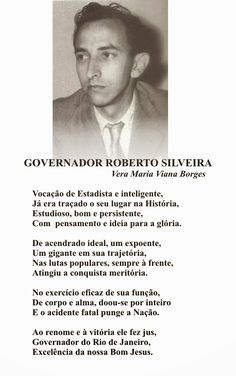 """Vera Maria Viana Borges: GOVERNADOR ROBERTO SILVEIRA (Do meu Livro -  """"DE-V..."""