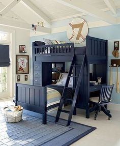 40 Cool Boys Room Ideas - Style Estate - I love the blue furniture! Pinning this for when we have to have Matthew share a room with Natalie.  Lots of great images for  two beds in small spaces.