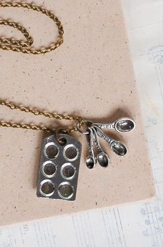 Bakers NECKLACE Tiny Measuring Spoons Cupcake Silver
