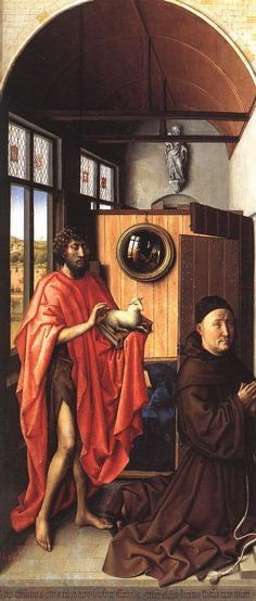 Master of Flemalle (Robert Campin?), The Werl Altarpiece (left panel), Donor & Saint John the Baptist, completed 1438 in Cologne. Now in the Prado, Madrid. Medieval Paintings, Renaissance Paintings, European Paintings, Jan Van Eyck, Online Gallery, Art Gallery, Robert Campin, Kneeling In Prayer, Architecture Sketches