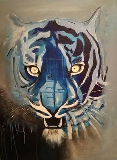 Black and Blue AsianTiger abstract painting, artist, original, jungle,yellow eye, blue eyes, acrylic on canvas wall decor for animal lovers