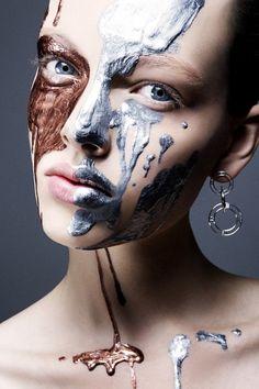 #makeup #bronze and silver metallic paint