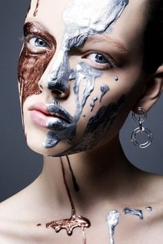 #makeup #bronze and silver metallic paint