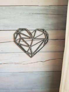 Heart Sign, Wooden Heart, Love Decor, Bedroom Sign, Rustic Wall Decor, Wedding Decor, Geometric Wall Art, Geometric Shape, Geometric Sign by YourCustomHomeDecor on Etsy