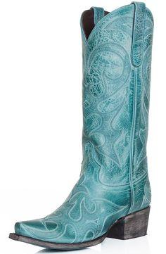"Lane Womens ""Love Sick"" Snip Toe Cowboy Boots - Turquoise $248.00"