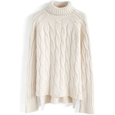 Chicwish Versatile Turtleneck Cable Knit Sweater in Ivory ( 62) ❤ liked on Polyvore  featuring fda82882b