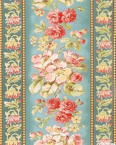 Wider stripes are about 6 from the 'Attic Treasures' collection by Gerri Robinson of Planted Seed Designs for Red Rooster Fabrics. Papel Vintage, Border Embroidery Designs, Line Flower, Decoupage Paper, Flower Backgrounds, Baby Prints, Flower Wall, Printing On Fabric, Paper Crafts