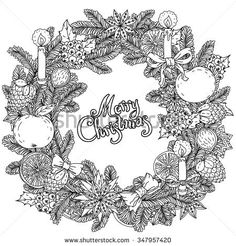 Christmas wreath with decorative items, hand-drawing includes text Merry Christmas. Black and white . Zentangle patters. The best for your design, textiles, posters, coloring book