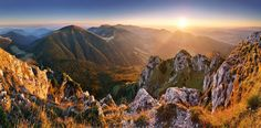 From Slovakia mountain peak Rozsutec at sunset - panorama. Go Hiking, Beautiful World, The Great Outdoors, Trekking, Cool Photos, Amazing Photos, Statues, Landscape Photography, Places To Go