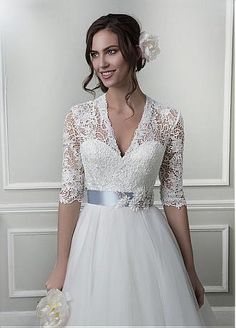 Buy discount Elegant Lace & Tulle V-neck A-line Wedding Dresses with Handmade Flowers at Dressilyme.com