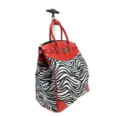 With a retractable handle and two rolling wheels, this tote makes traveling easy. Featuring a zebra print in red and black, this tote also has a tablet and 14-inch laptop compartment.