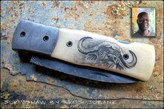 Scrimshaw work by Nkosi Jubane, Kappetijn Knives.