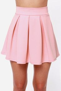 """Lulus Exclusive! From the Big Apple to the Big Orange and every township in between, ladies everywhere are loving the Times Flare Light Pink Skirt! Thick and stretchy scuba knit begins with a band that sits high on the waist, while box pleats flare into a darling skater skirt below. Unlined. Model is 5'10"""" and is wearing a size small. 90% Polyester, 10% Spandex. Hand Wash Cold."""