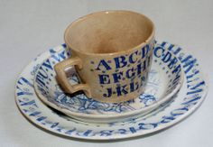 ABC Childs Dishes  Blue Transfer Ware H C Edmiston England