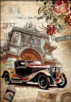 Using Vintage Car Clip Art to Design Almost Anything - Popular Vintage Vintage Labels, Vintage Cards, Vintage Paper, Vintage Postcards, Vintage Decor, Decoupage Vintage, Decoupage Paper, Images Vintage, Vintage Pictures