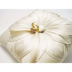 Wedding Ring Pillow: Ivory Silk Fleur Stitched ($49) ❤ liked on Polyvore