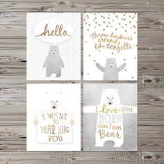"Bear Nursery Wall Art, Instant Download, Set of 4, 8x10"", Woodland Nursery Art…"