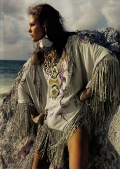 Girl Friday | Catherine McNeil | Emma Summerton| Vogue UK June 2008 |   ...too much jewelry, but love the native embroidered pancho