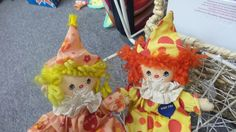 Have clowns ever looked cuter? These hand puppets have the most adorable details, right down to their painted faces and yarn hair. These would be a lovely decoration for a circus-themed party! Pick them up at our Gallery today! #clown #handpuppet #circus #clowns #raggedyann #puppets #cirque #polkadots #antiquegalleryoflewisville #vintagetoys #vintage #antique