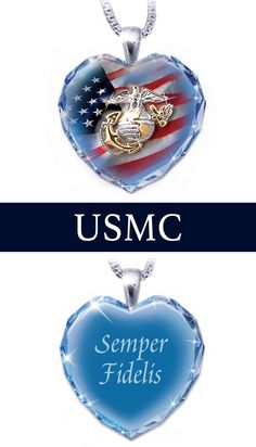 USMC pendant necklace handcrafted in faceted crystal and sterling silver. Royal blue crystal heart features U.S.A. flag, USMC emblem, etched message.
