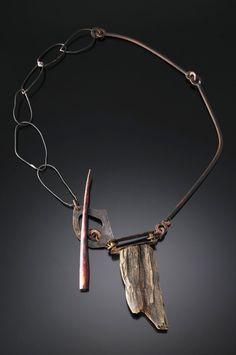 Roxy Lentz  Necklace: Untitled 2012  Copper, steel, brass, drift wood, silver plate tray