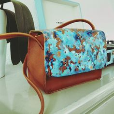 hand painted leather cross body bag