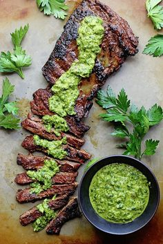 Satisfy your hunger with this Marinated Skirt Steak With Chimichurri recipe.