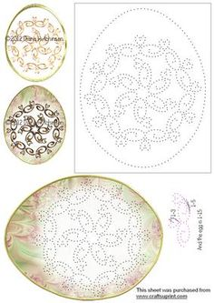 Egg Mandala on Craftsuprint designed by Diana Hutchinson - Large mandala decorated eggs. One with the egg for you to stitch and the other with a printed egg. - Now available for download!