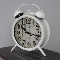 Cream Vintage Alarm Style Clock Freestanding clock  With distressed paint effect Printed face with aged design Battery Powered £33.95 www.melodymaison.co.uk