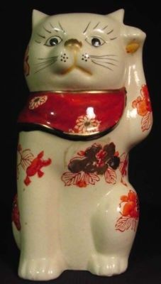 Old Japan Maneki Neko Lucky Good Luck Beckoning Cat | #143313461