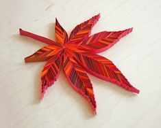 """ACER AMOENUM [Japanese Maple], 3/8"""" quilling paper, unmounted. Approximately 5.5 x 6.7 in / 14 x 17 cm. JUDiTH+ROLFE"""