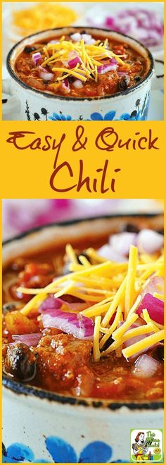This Easy & Quick Chili is perfect for Halloween, fall or winter entertaining and dinners. Comes with a slow cooker option. Click to get this easy, quick and gluten free chili recipe.