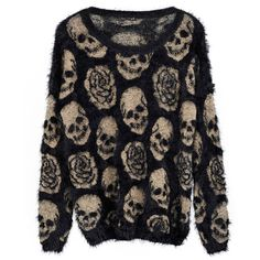 Long Sleeves Mohair Pullover with Skull Roses Printed - Knit Tops - Pullover - Knitwear - Clothing . fuzzy with skulls. Skull Fashion, Dark Fashion, Gothic Fashion, Emo Fashion, Quirky Fashion, Lolita Fashion, Alternative Outfits, Alternative Fashion, Cyberpunk