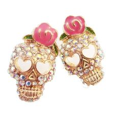 In Stock NOW! Crystal Skull with Rose Stud Earrings