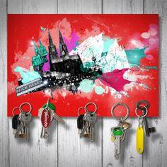 Schlüsselbrett magnetisch / magnetic Keyholder - COLOGNE GESPLASHT / Domstadt / Kölner Dom / Cologne cathedral / Cologne City / red    Format: 18x12cm  Handgemacht / Handmade  gemacht mit ♡ in köln!